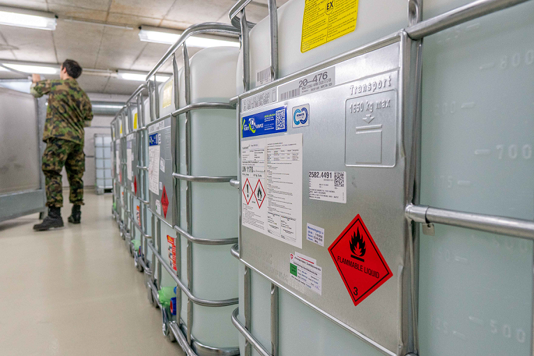 Containers with disinfectant donated by Clariant and partners CropEnergies and Brenntag are being distributed to Swiss medical institutions from logistics center of Swiss Army