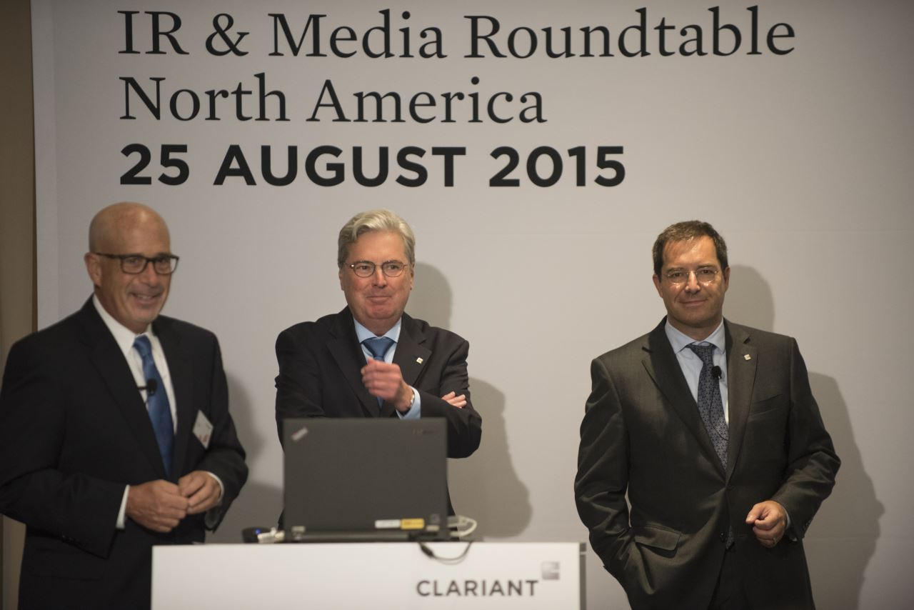 Ken Golder, Head of the Region North America, Hariolf Kottmann, CEO Clariant and Patrick Jany, CFO Clariant <br>