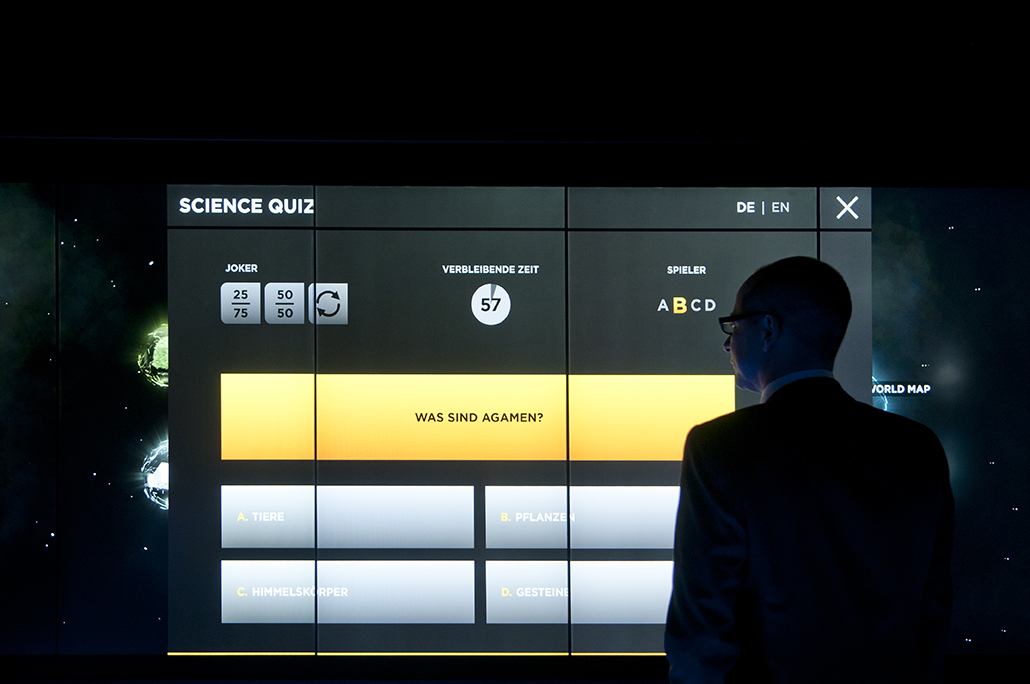 The Science Quiz invites visitors to test their knowledge and compete against each other.
