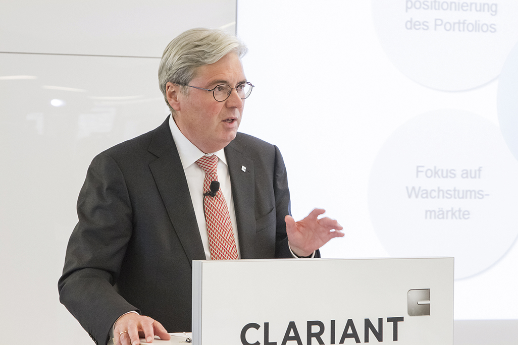 Dr. Hariolf Kottmann, Chief Executive Officer of Clariant, explaining how the new Clariant Innovation Center will shape the future of the business as a center of excellence for chemical research and process technology.